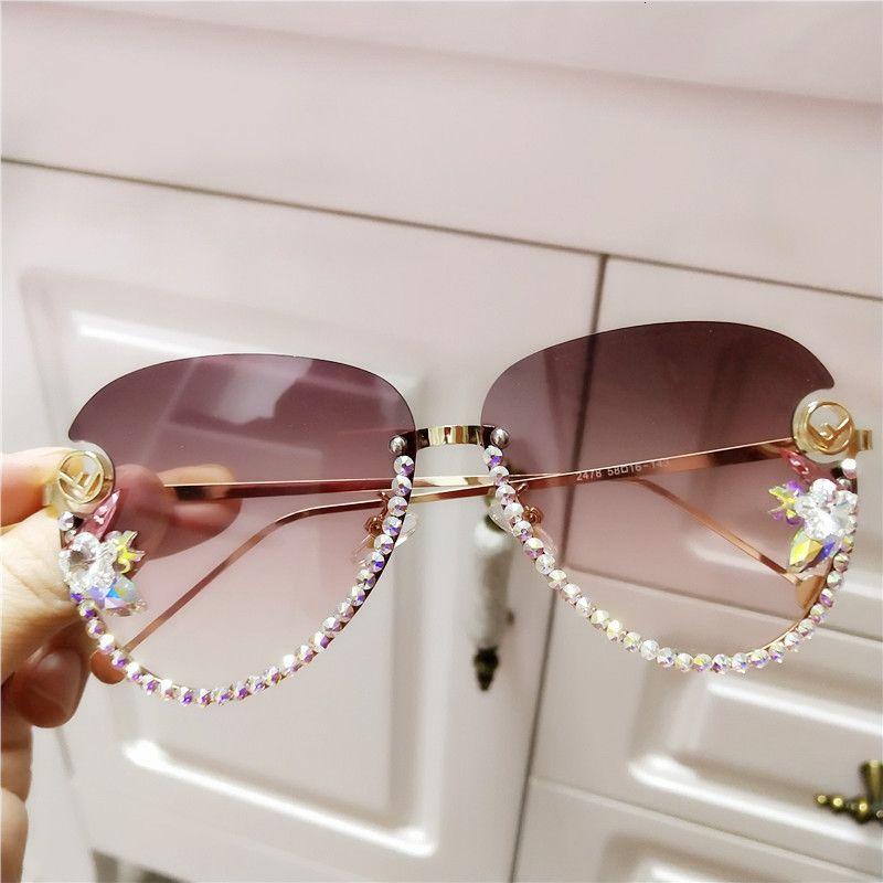Occhiali da sole per occhiali da sole da donna Designer Designer Designer CRSYTAL RIMILESS, occhiali da sole ladeis f letter