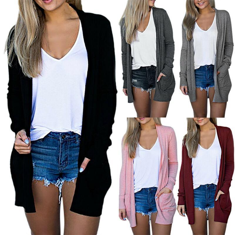 여성 가을 얇은 긴 소매 카디건 착실히 보내다 캐주얼 솔리드 컬러 대형 사이즈 여성 여러 가지 빛깔의 및 멀티 코드