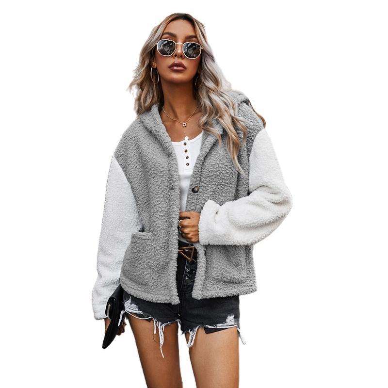 Frauen-Winter-lange Hülse Hoodies-Mantel-flaumiger Plüsch-Farben-Block-Patchwork Outwear Button-Down-Cardigan Jacke mit Taschen 201017