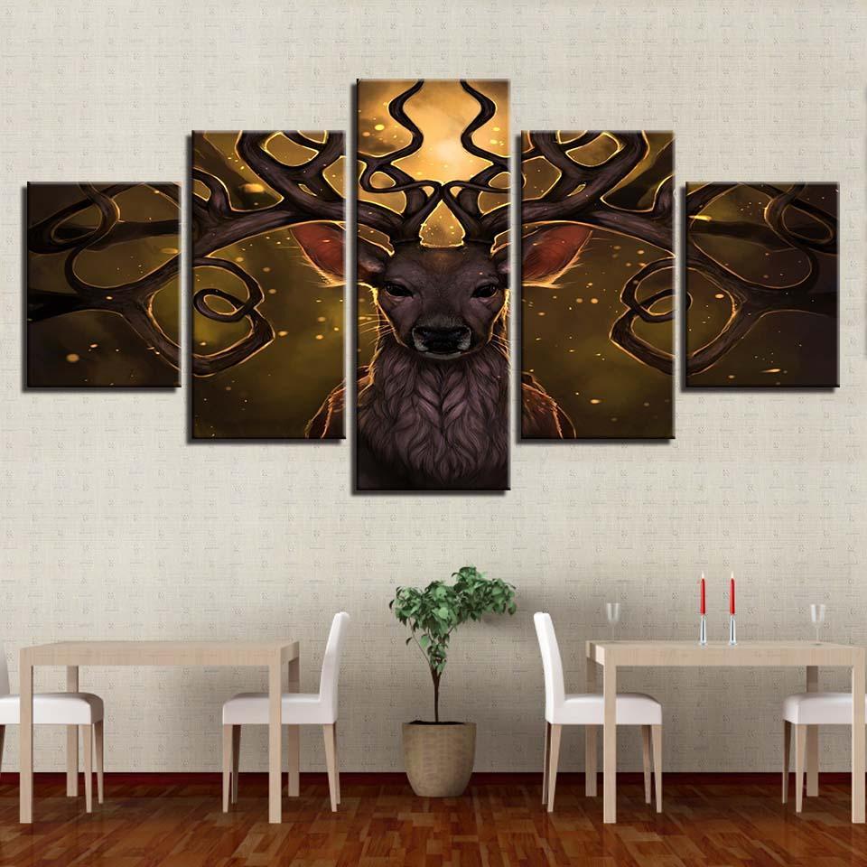 Современный дом украшения гостиной картина 5 панелей животных Longhorn олень кадр стены искусства плакат холст HD печать модульное изображение