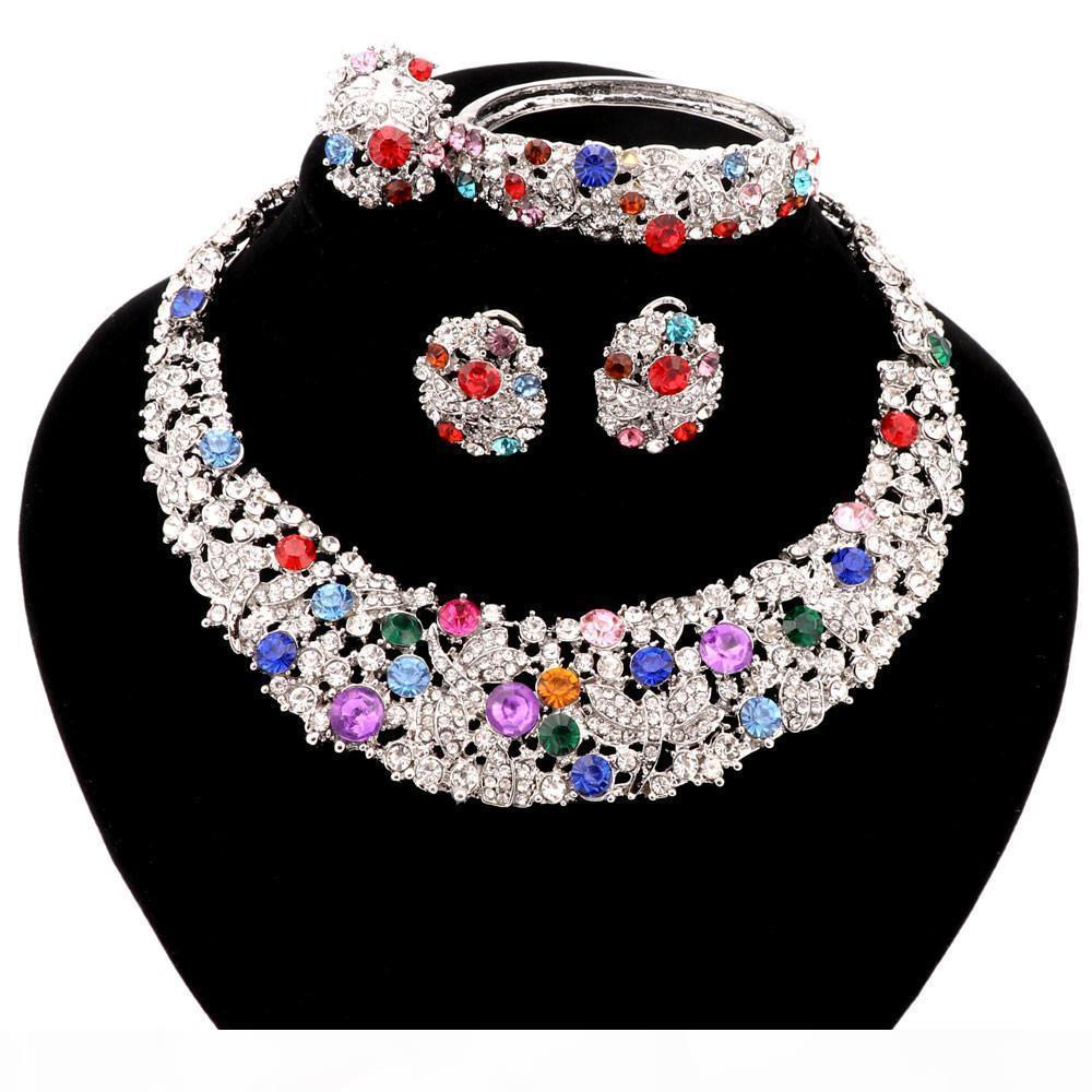 S 2 Farben Trendy Direct Selling Schmuck Sets Frauen Halskette für Partei-Hochzeit Boho Kristall Statement Halskette mit Ohrringe 2016