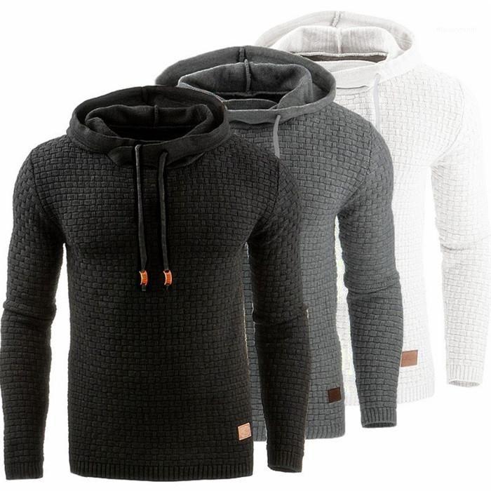 Пуловер Повседневный длинным рукавом Толстовка с капюшоном весна осень Мужской одежды High Street Мужские толстовки Проектировщик Solid Color