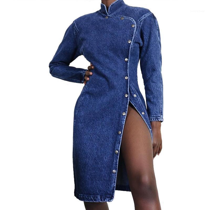 Kleider-Straßen-Art beiläufiger Knopf dünner Split Stehkragen Gewaschene Jean Kleider Mode-Frauen-Kleider Sexy Frauen Designer