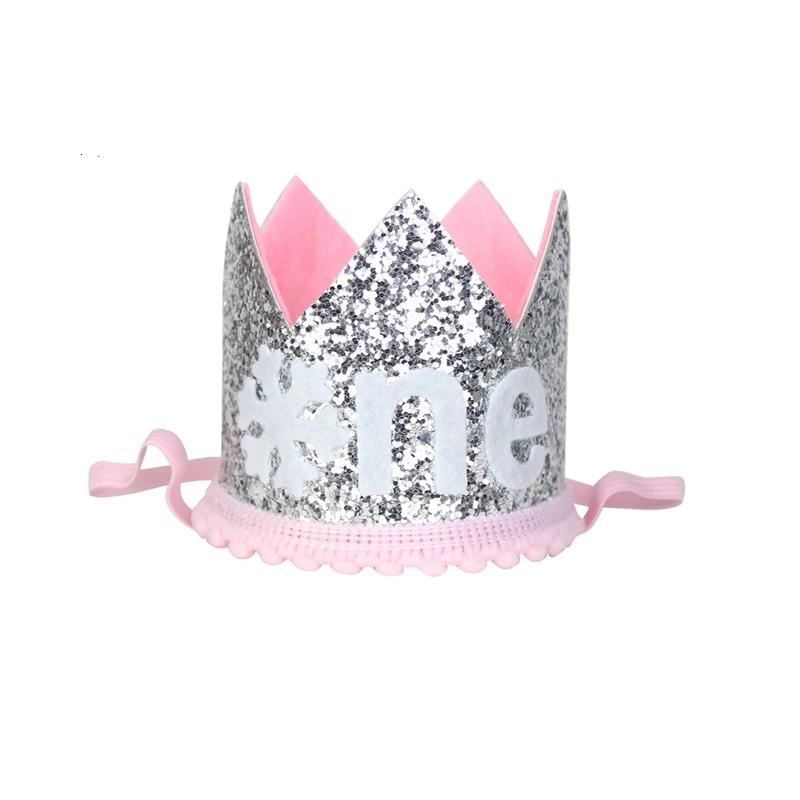 Un anno vecchio cappello di scintillio del fiocco di neve della ragazza di prima parte prima torta di compleanno Corona Inverno ONEderand Outfit