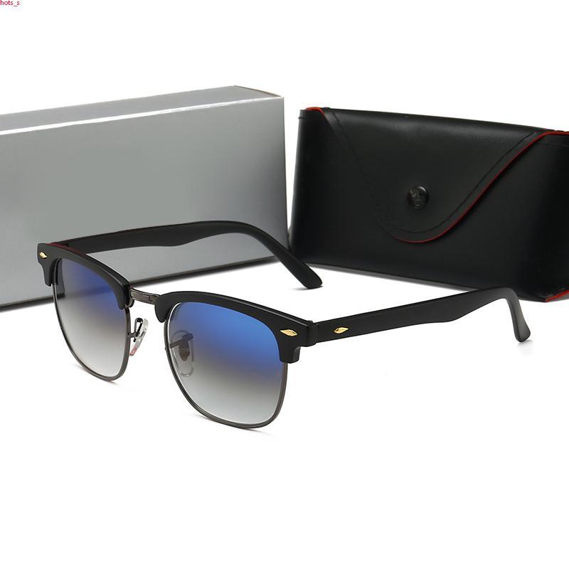 RayBan RB3016 occhiali da sole di sport di modo rossi per gli uomini 2020 occhiali unisex corno di bufalo uomini donne senza montatura occhiali da sole d'argento cornice d'oro in