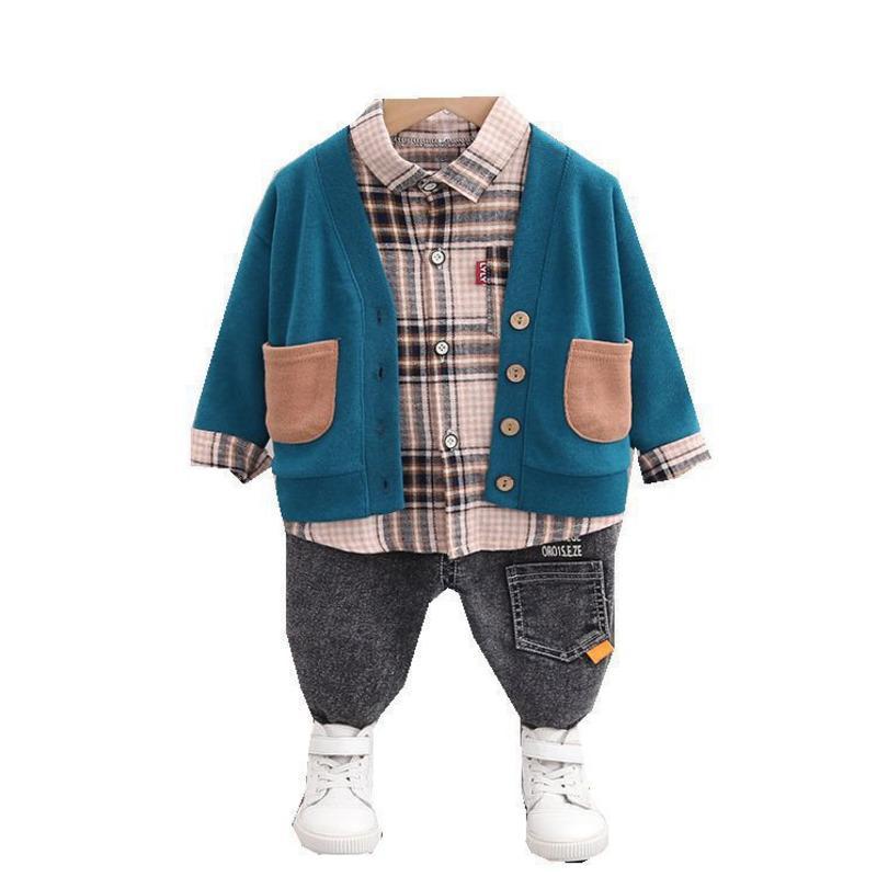 가을 아동 의류 아기 소년 소녀 재킷 격자 무늬 셔츠 청바지 바지 3PCS는 / 봄 어린이 유아 의류 유아 스포츠를 설정