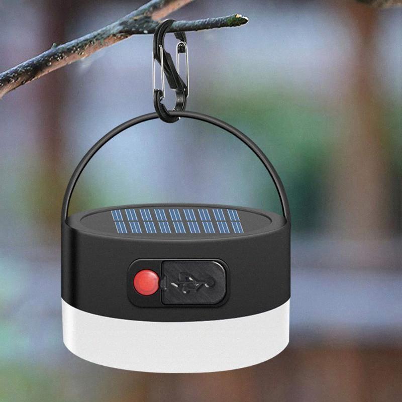 Solar Powered Lanterna Camping LED Mini Lâmpada de suspensão para a barraca Lâmpada Solar USB recarregável Waterproof Tent Luz C8iX #