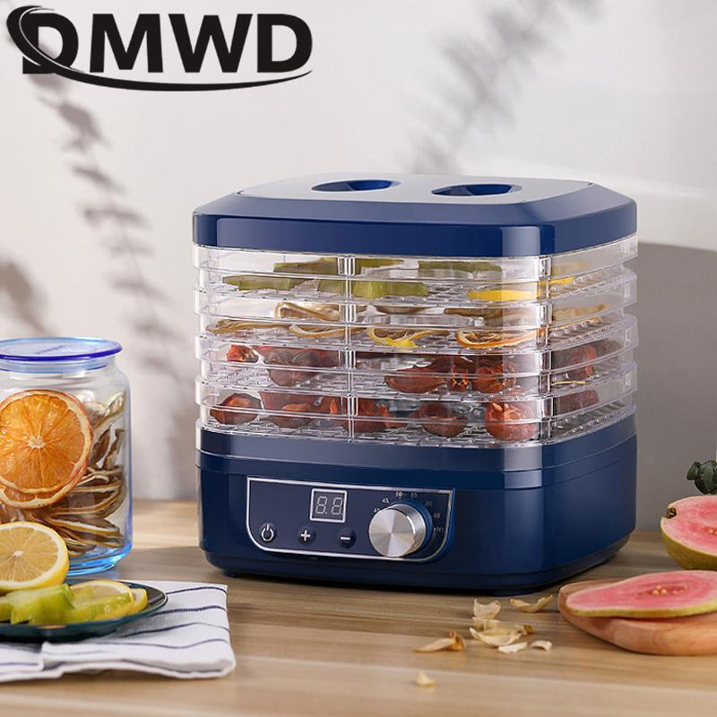 DWWD сушеных фруктов овощей мясной машина Бытовой МИНИ Dehydrator Pet Мясо обезвоженных 5 противней Закуска осушитель воздуха EU США