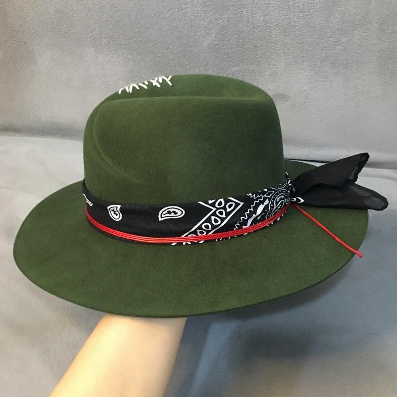 Etnik Tarzı Yeşil Geniş Brim Fedora Şapka 100% Yün Kadın Keçe Şapkalar Panama Şapka Türban Şerit Crushable Porkpie Style ile