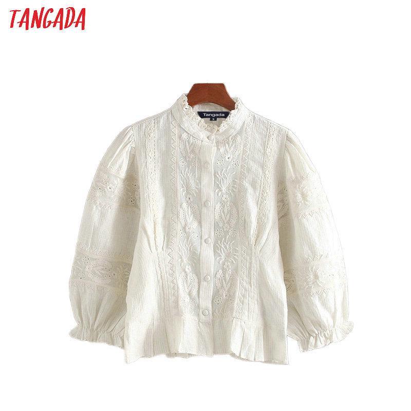 Tangada donne retrò ricamo camicie bianche pieghe volant manica a tre quarti di eleganti signore ufficio camicette delle colture 200925