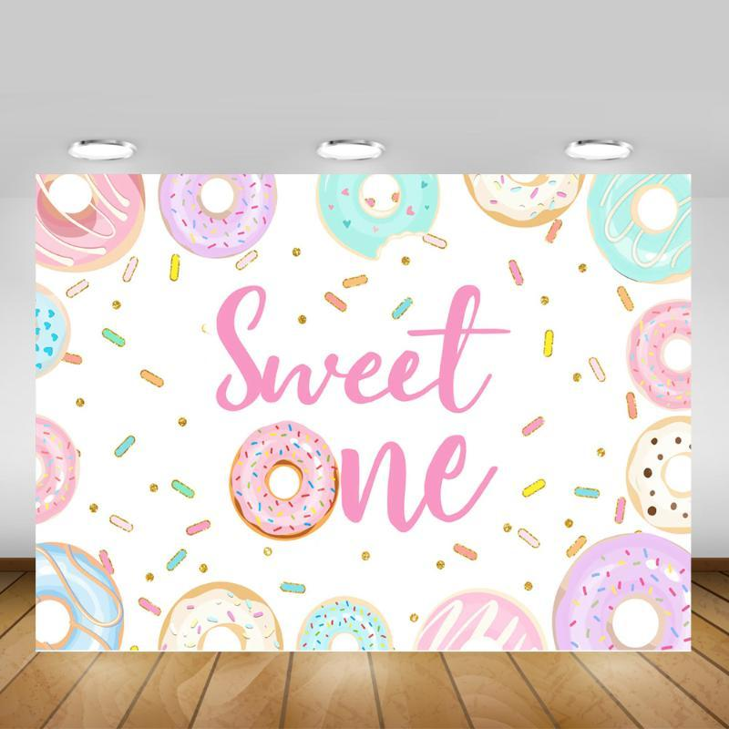 Sweet One Birthday Party Backdrop Decoration Props Newborn Donuts 1st Birthday Background Photography Dessert Counter Banner