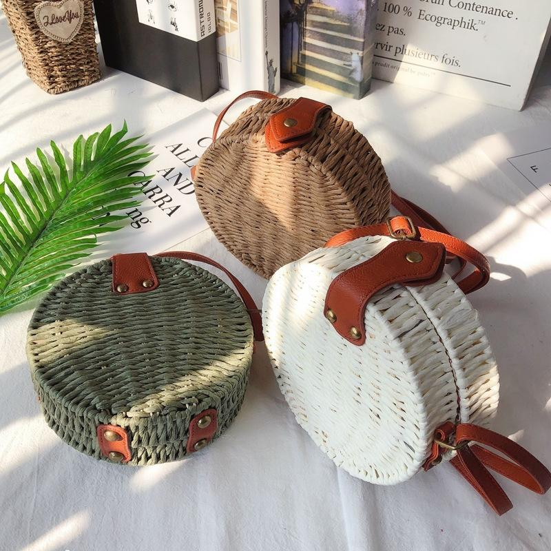 gmUco Mori handmade tecido 2019 férias de ombro saco de mensageiro à beira-mar entre pais e filhos de meninas de palha bolsa de palha do verão New tecidas