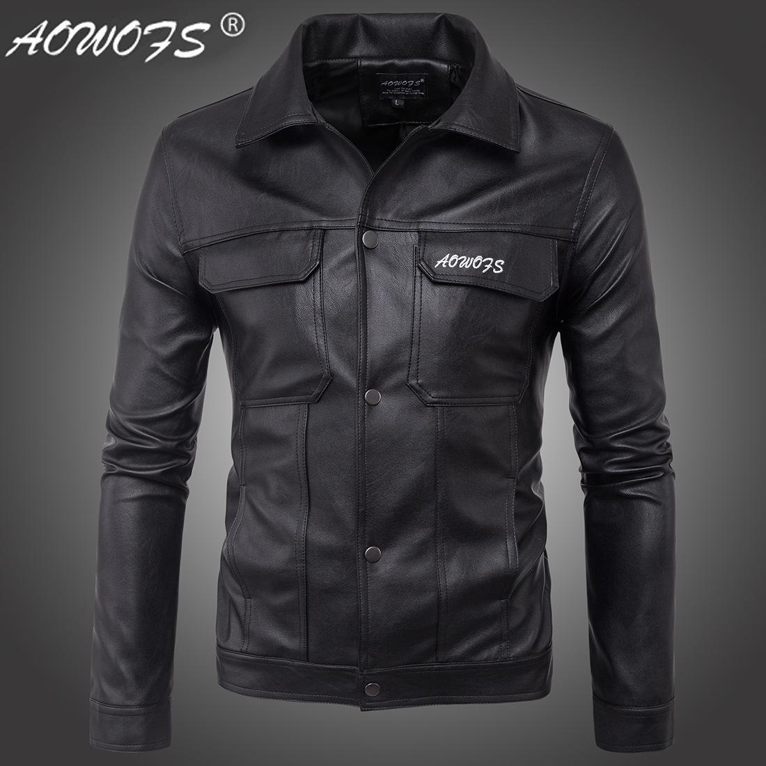 Europäische große neue Herren-Motorrad-Lederjacke Brief bestickte Lederjacke Jacke D105