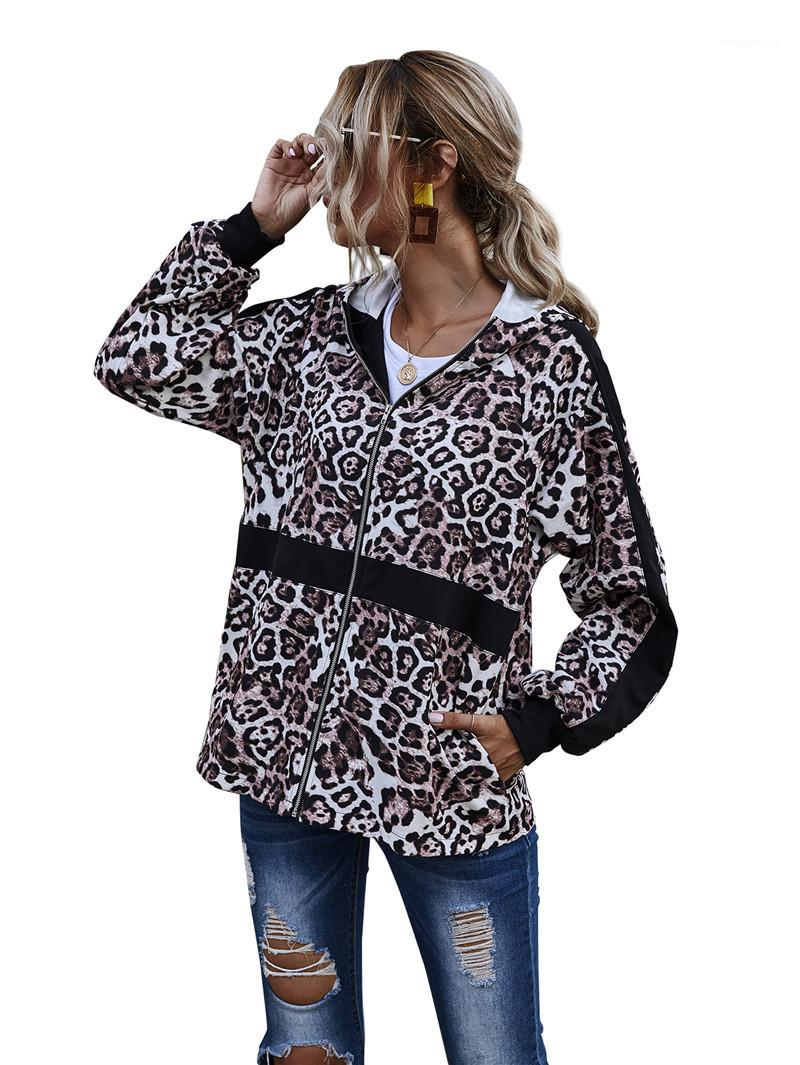 Deisnger Hoodie Fashion Zipper Neck Leopard Printed Panelled Long Sleeve Sweatshirts Casual Female Clothing Dropshipping Autumn Womens