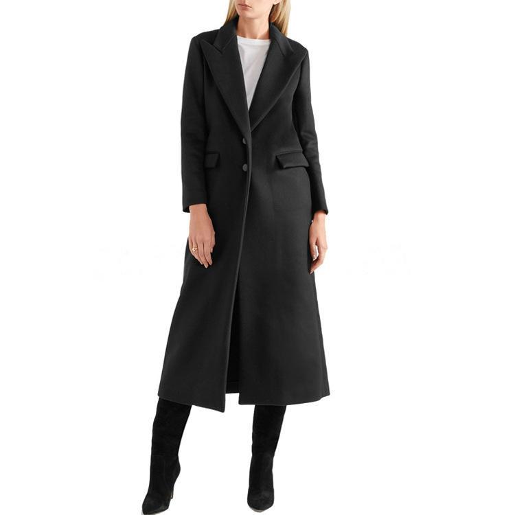 Женщины Одежда осень и зима новый черный костюм Длинный воротник длинные пальто моды кнопки Тонкий шерстяной пальто Женщины Женщины