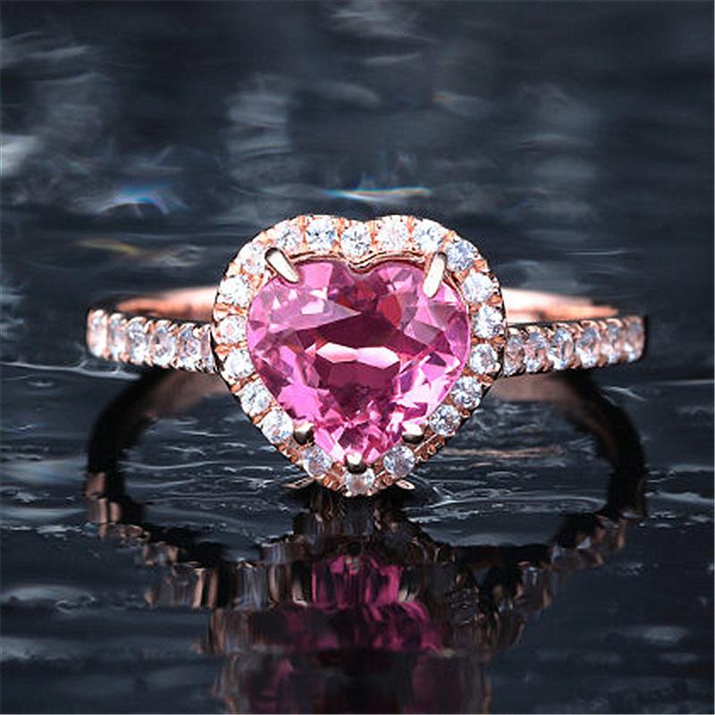 Bague de cristal rose exquise en forme de coeur Pince banquet rose / champagne zircon anneau de mariée mariage bijoux de bijoux