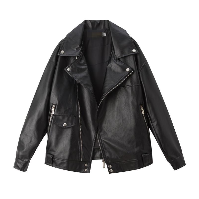 in pelle colletto della giacca Suit Black Women PU molla di autunno della chiusura lampo del cappotto del bicchierino BF vento pelle Breve Moto Top Giubbotti per la donna