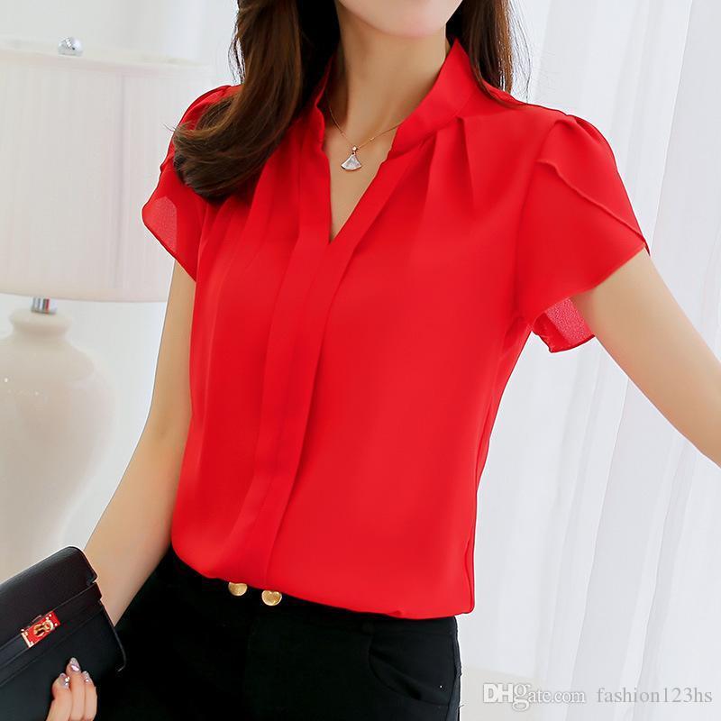 Artı boyutu Bluz Kadınlar 2020 Yaz Kısa Kollu Kırmızı Ofisi Bayanlar şifon Gömlek zarif Çalışma Üst Casual Kadın Giysileri