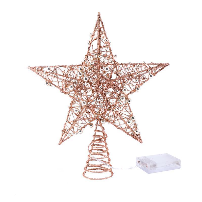 1pc fer Étoile de Noël en haut du sapin avec la lumière LED Glitter étoile ChristmasTree Topper 5 point Festival de arboricole Décor