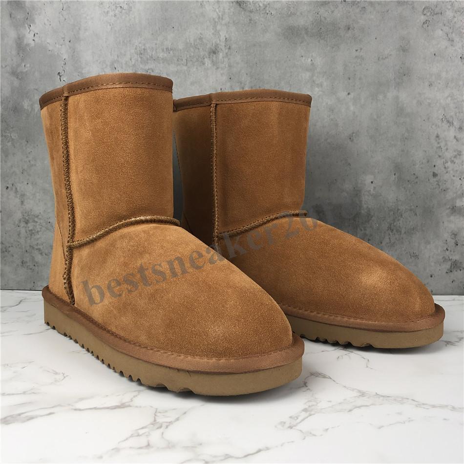 Mode Männer Frauen klassische Schnee-Aufladungen Lange Knöchelkurzbogen-Pelz-Designer-Stiefel für den Winter-schwarze Kastanien-Boot-beiläufige Plattform-Schuh-Weihnachten