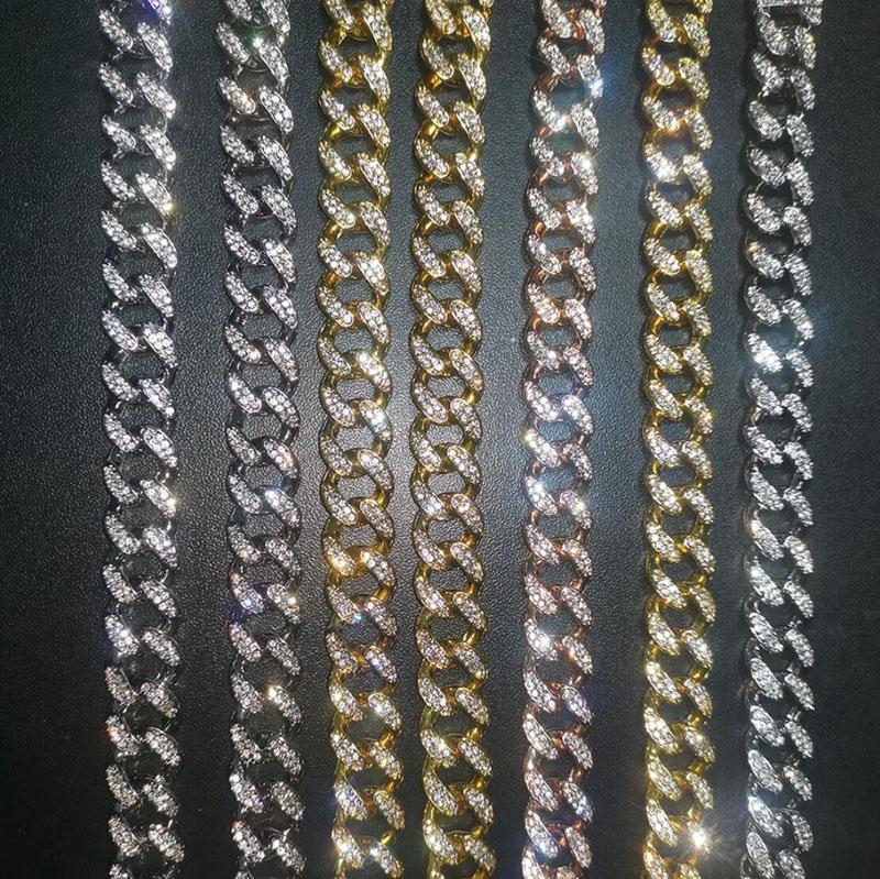 مثلج خارج عجزا الرجال قلادة أساور الذهب الفضة الكوبية رابط عجزا قلادة الهيب هوب مجموعات مجوهرات