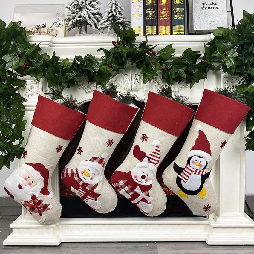 Los árboles de Navidad ornamento de nuevo medias de Navidad de Santa Claus Elk media de la Navidad del caramelo Calcetines Bolsas de regalos de Navidad Decoraciones Bolsa CYZ2780