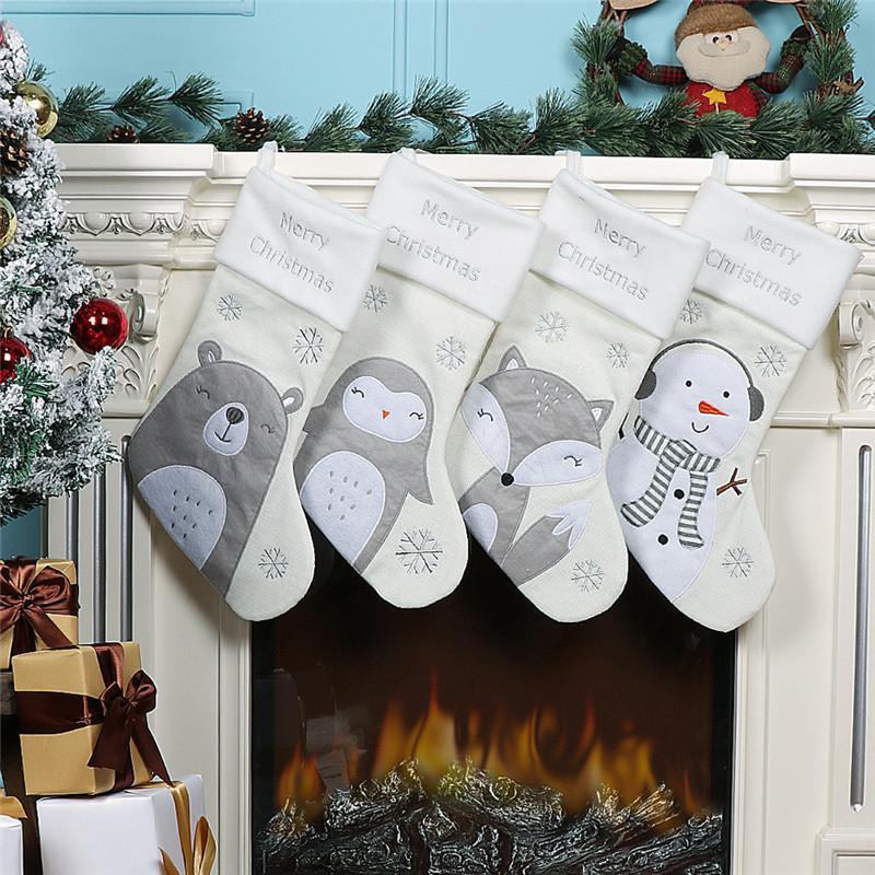 Пингвин дизайн Белого чулок Рождество Нетканых чулки Рождество конфета носки Дети мешок подарок Xmas Главная Подвеска GWE1704