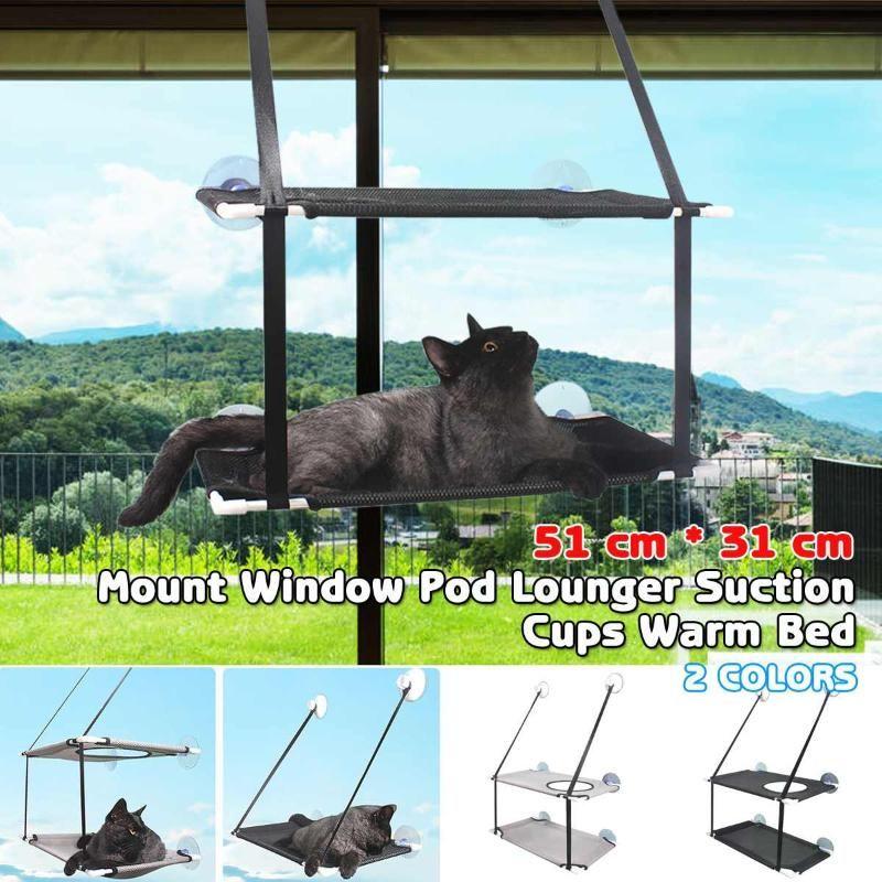 30 kg deux couches Pet hamac Cat Basking fenêtre Seat Accueil Mounted Ventouse lit suspendu Mat Lounge Chats Fournitures 51x31cm