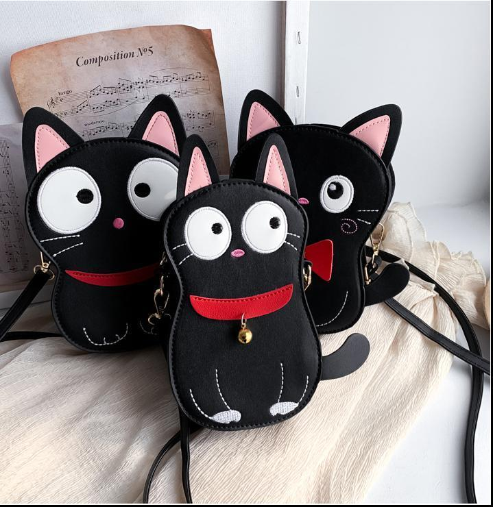 Brand Cat Shape Shoulder Bag Mini Messenger Bag For Women Cartoon Quality Leather Bags For Girls Embroidery Crossbody Phone Bag