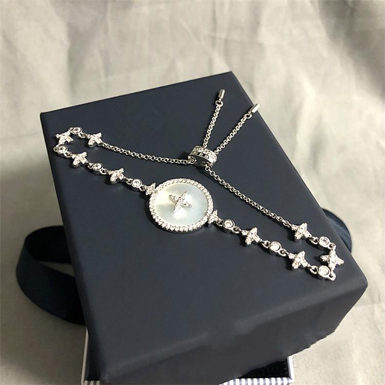 madre bianca del braccialetto di perle stelle d'argento a casa intarsiato di cristallo di diamante gioielli signore disegno di senso anello paio mano femminile shell personalizzata