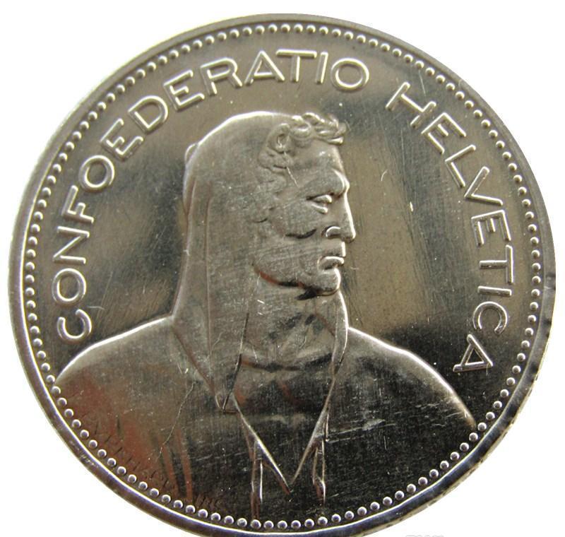 Franchi argento Svizzera Nickel Unc (confederazione) Franken) Copia placcato 5 (5 Coin Diametro: 31,45 millimetri 1948 Ottone bbyAJ garden2010