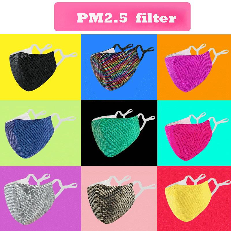 new 8 colors fashion sequin pure cotton face mask pm2.5 dust-proof Anti-fog breathable washable reusable adjustable Protective mask