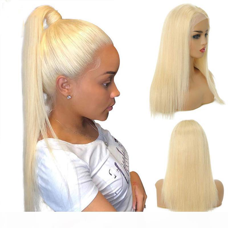 Silk Top Brazilian Honey Blonde Human Hair Lace Front Wigs Color 613# Straight Thick Glueless Full Lace Human Hair Wigs With Baby Hair