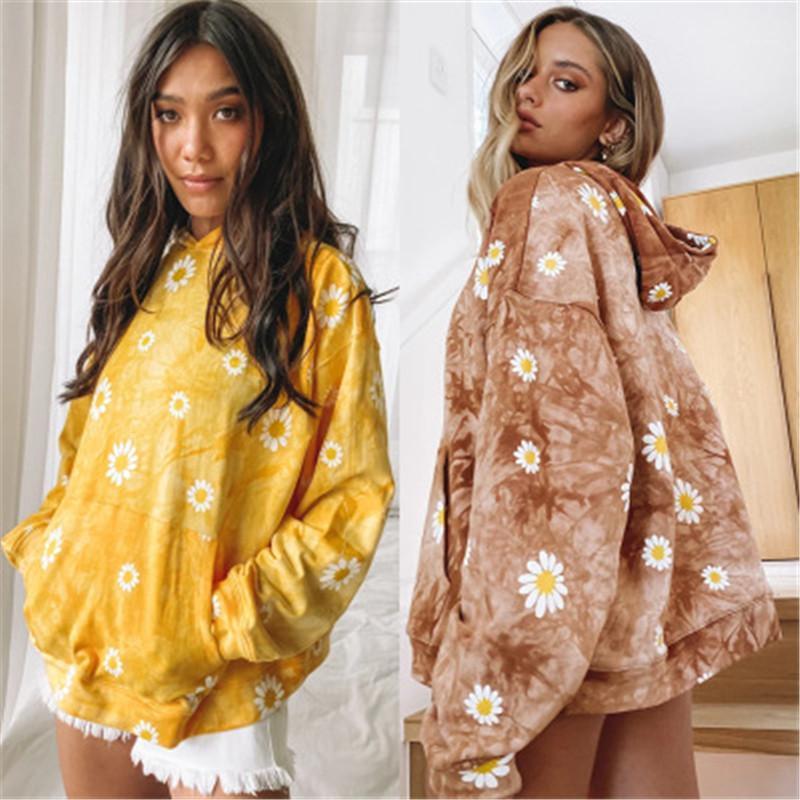Designer Weibliche Langarm-lose beiläufige mit Kapuze Spitze der Frauen Gänseblümchen-Sweatshirts Fashion Tie Dye Farbe plus Größe Kapu Kleidung