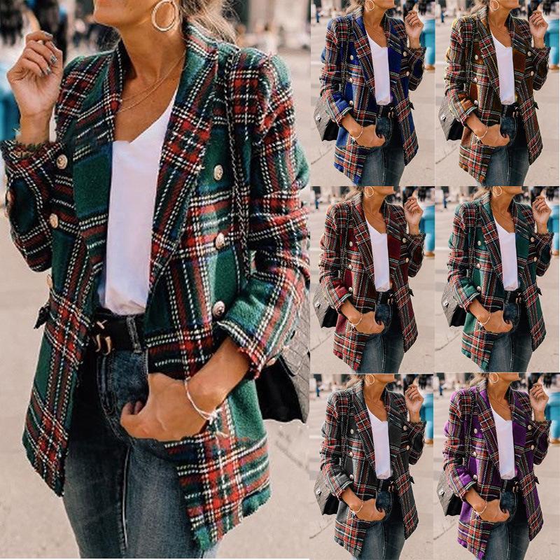 Mujeres sueltan manga larga a cuadros de lana larga chaqueta de capa de la manera gira el collar abajo Escudo del otoño y del invierno de las mujeres traje casual