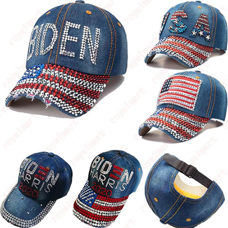USA 2020 sombreros de vaquero estadounidense Elección Actividad Biden Harris Sombrero de Bling Bling del diamante alcanzó su punto máximo Banderas de Estados Unidos Cap gorras de béisbol IIA637