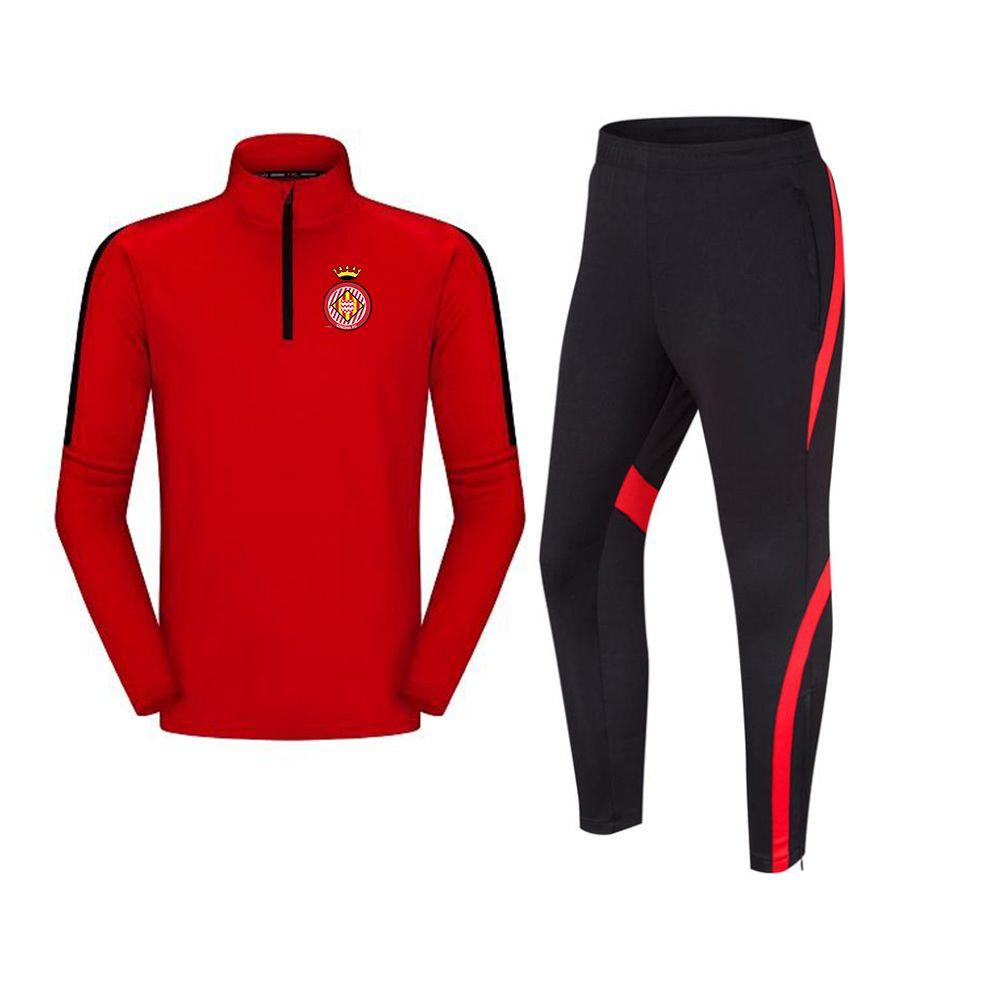 جيرونا f.c تشغيل الرجال رياضية كرة القدم سترات الترفيه التدريب الدعاوى في الهواء الطلق الرياضية الركض ملابس المشي لمسافات طويلة