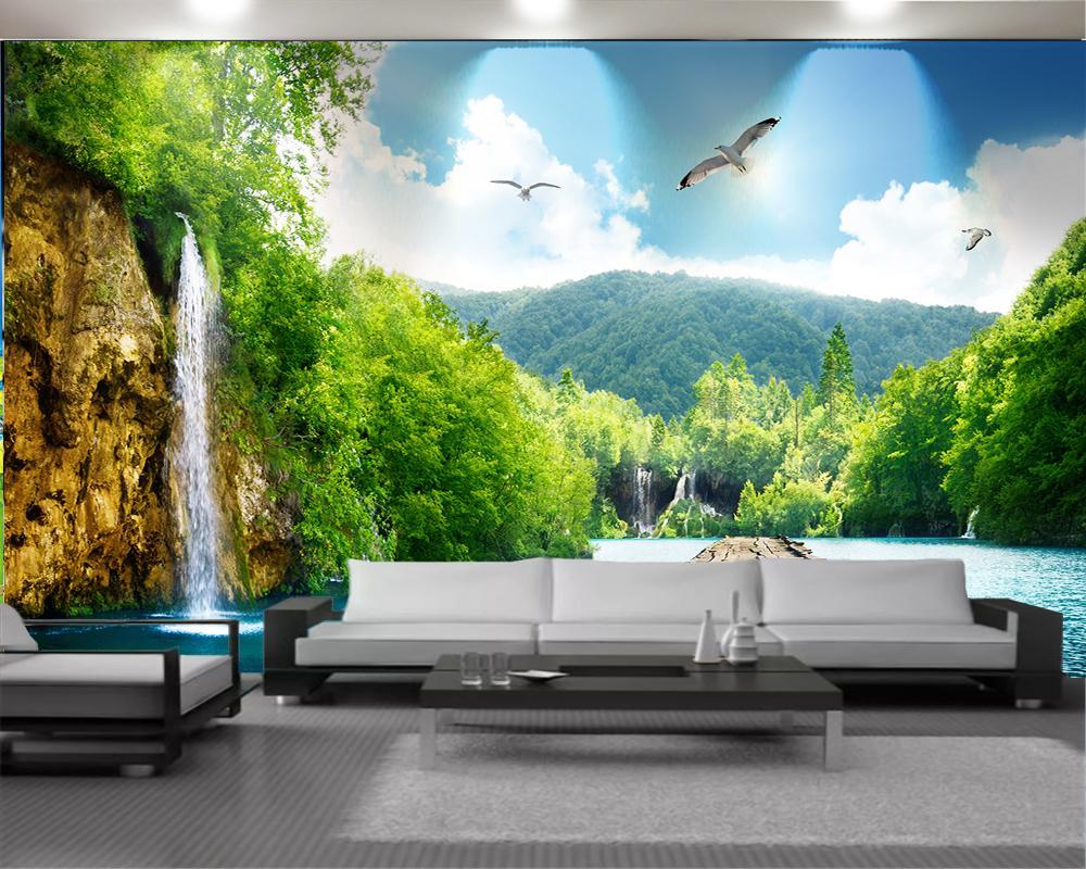 나무 산책로 거실 침실 장식 3D 배경 화면과 낭만적 인 풍경 3 차원 벽화 벽지 아름 다운 풍경