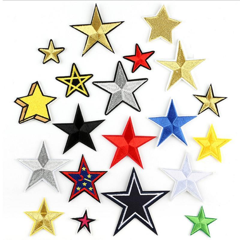 Venta caliente en stock Base field bordado hierro en parches de estrellas con diferentes colores para opciones parche de tendencia
