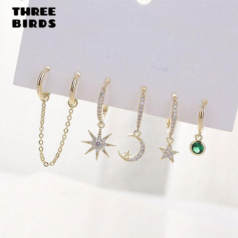 Art und Weise Stern-Mond-Ohrring-Sätze Gold Small-Band-Ohrringe für Frauen Art und Weise Schmucksache-Geschenks 2020 pendientes aro XSaY #