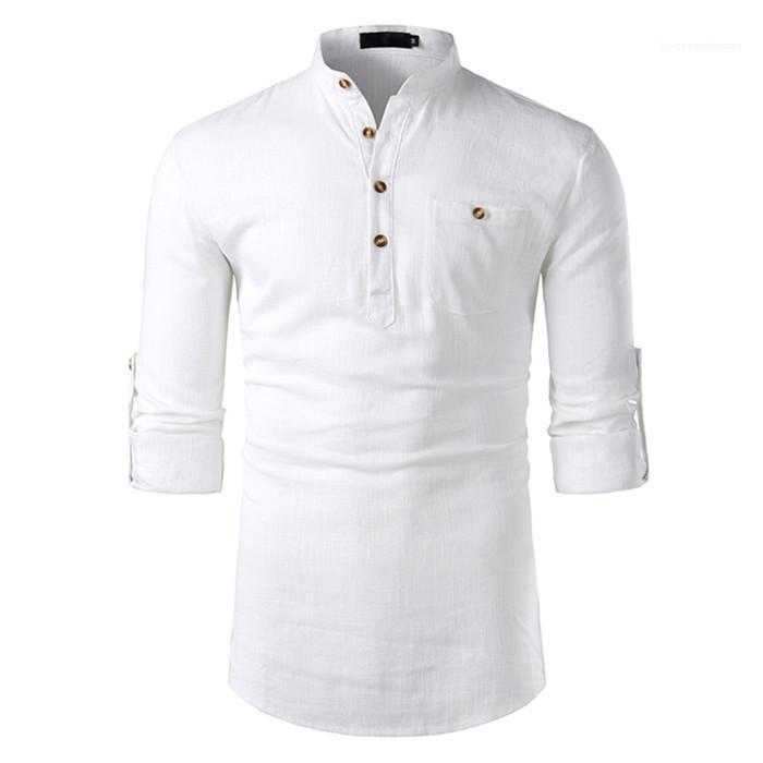 Camicie di cotone-lino a maniche lunghe Mens risvolto Neck Mens Solid top con tasche Moda Maschio Abbigliamento