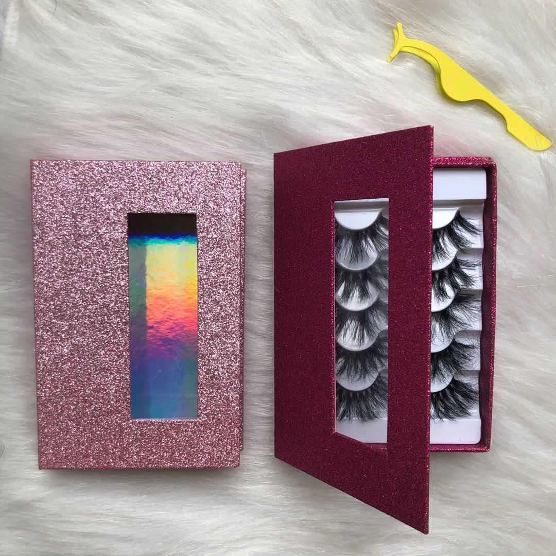 Luxury Bling Shiny Rectangular Book Shape Box with Window For 5Pair Eyelash Packaings
