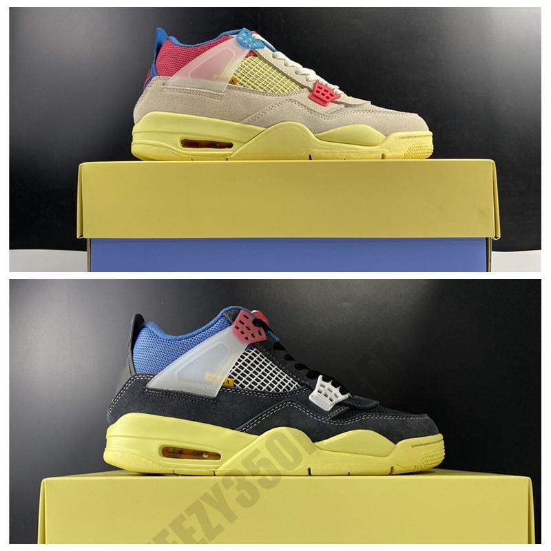 2020 Union LA Jumpman 4са Off Noir гуава Ice Дым Серого свет Люди Баскетбол обувь 4 ООН OG натуральной кожи Открытые кроссовки с коробкой DC9533-800