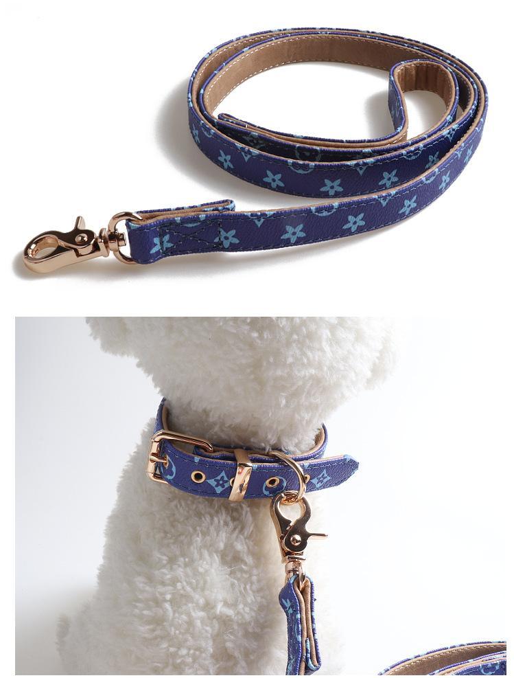 DHL RTS clássico Designer Dog Collar Pattern Pu Couro animais Coleiras ajustável personalidade da marca Cat trelas Outdoor Acessórios Coleira