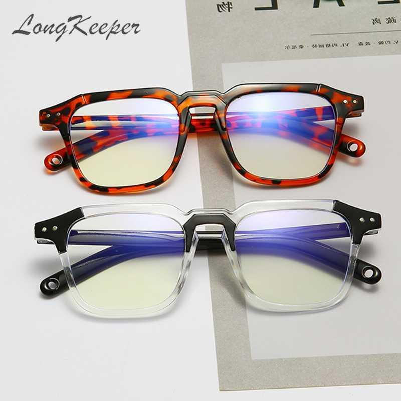 LongKeeper Men Blue Light Square Black Lens Leopard Women Eyeglasses Clear Anti Computer Spectacle Frame Glasses Eyewear Rxtcl
