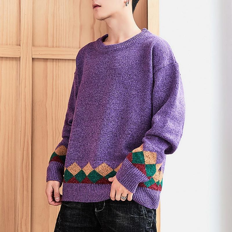 Rollkragen Pullover Männer Stitching Farbe Einfache All-Gleiches lose Harajuku Chic Korean Männlich Kleidung Qualitäts-Stricken Pullover