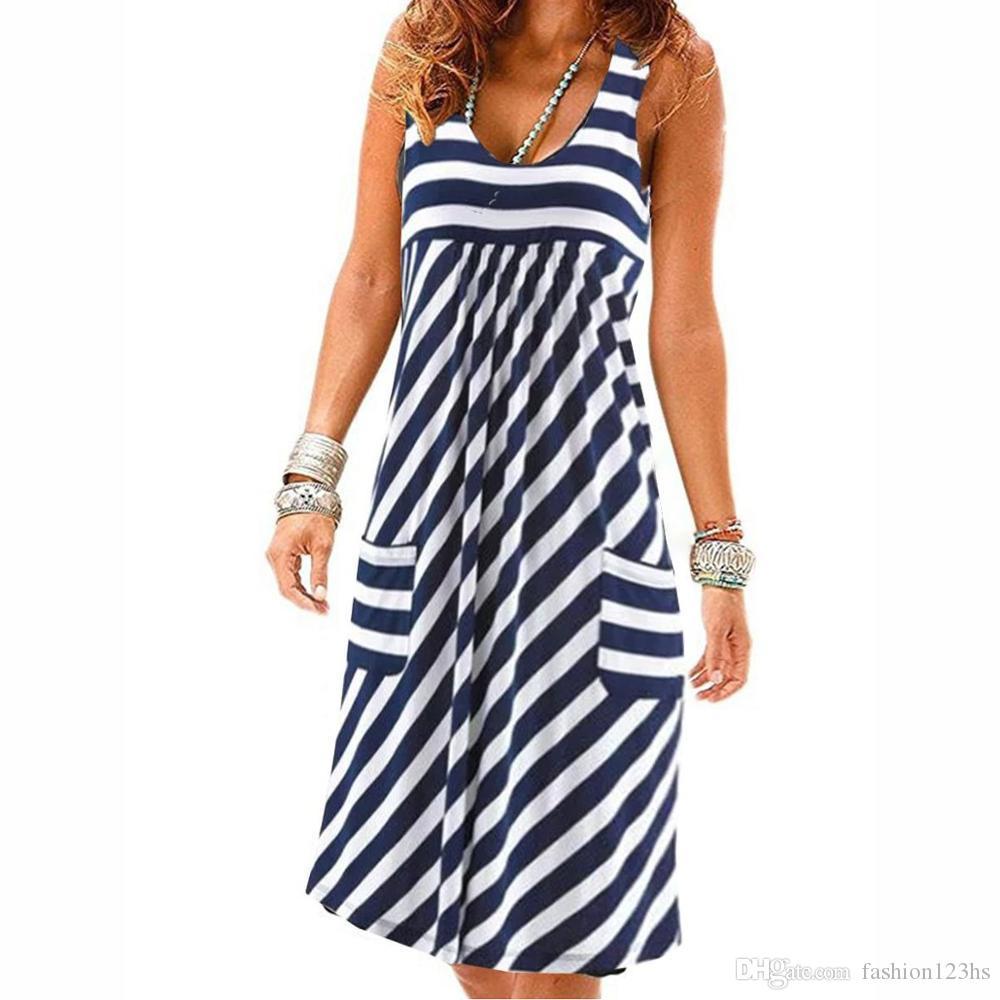 Marca de moda desinger vestido de rayas de gran tamaño vestido de verano sencilla suelta vestido sin mangas de ropa femenina