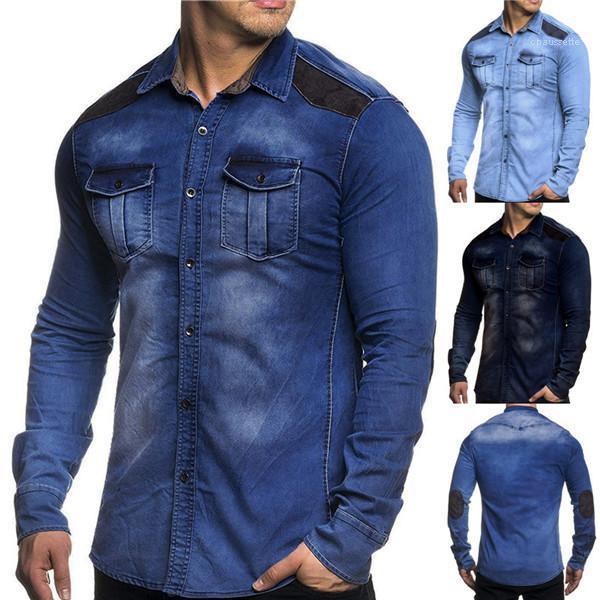 Shirts Denim Autunno Uomini risvolto collo maniche lunghe Abbigliamento Uomo Patchwork camice casuale più Mens Dimensione