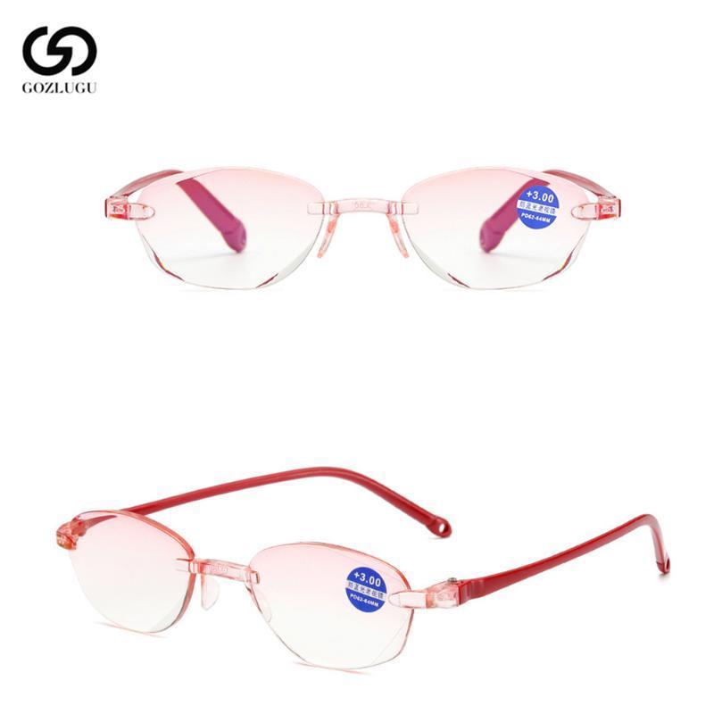 2020 Azul Luz +4.0 Anti gafas + 1.0 +1.50 +2.0 Recorte +2.50 Mujeres HSCQK Ancianos Lectura de vidrio sin montura Hombres +3.0 Lectura para diamante OABM
