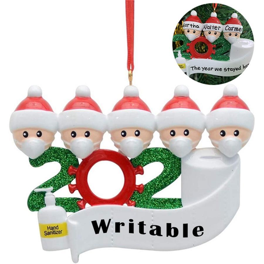 2020 cuarentena Partido Cumpleaños Decoración de Navidad de Santa Claus con la máscara personalizada Familia distanciamiento ornamento colgante decoración DDA529